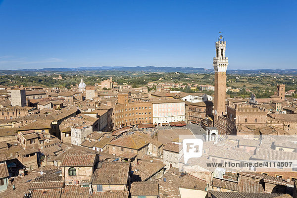 Look over Siena with Palazzo Pubblico and Torre del Mangia Piazza del Campo Siena Tuscany Italy