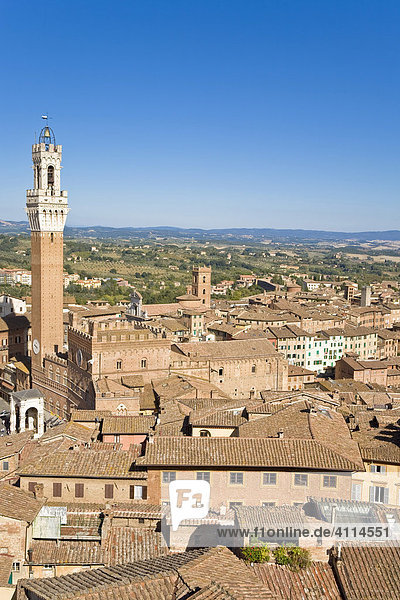 Look over Siena with Torre del Mangia Siena Tuscany Italy