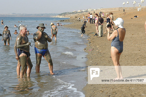 Tourists at a beach at the Dead Sea  Jordan