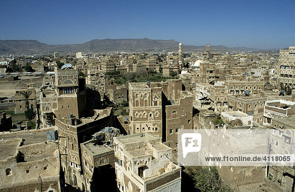 View over the rooftops and minarets in the historic centre of Sanaa  Yemen  Middle East