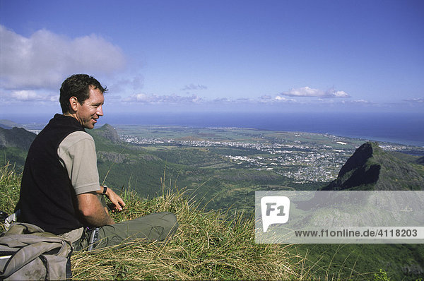 On top of Le Pouce mountain  Mauritius