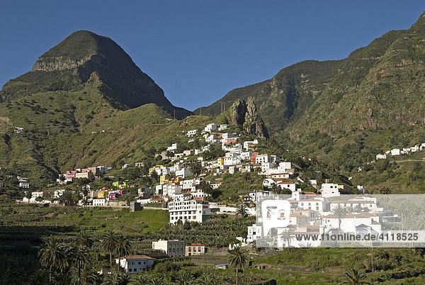 Dorf Hermigua  Insel La Gomera  Kanarische Inseln  Spanien  Europa Insel La Gomera