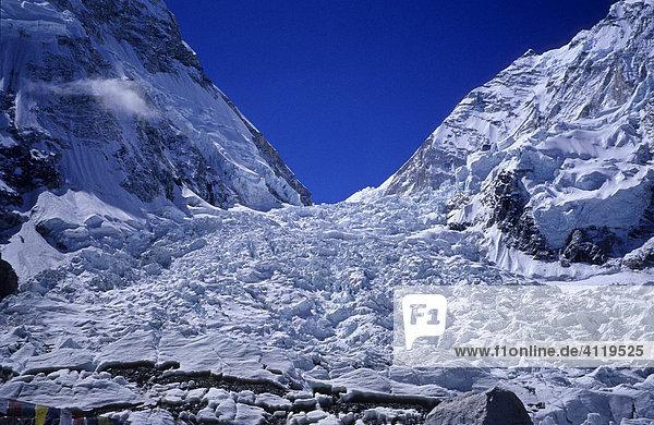 Blick auf den Khumbu-Eisfall vom Basislager  5300m  Mount Everest  Himalaya  Nepal