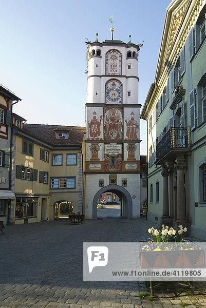 Frauentor in der Altstadt von Wangen im Allgäu  Baden-Württemberg  Deutschland  Europa