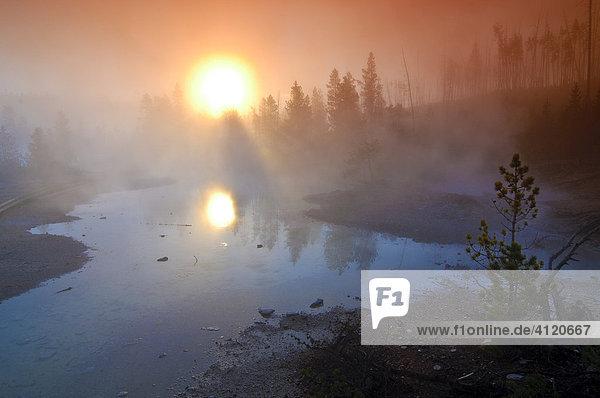 Morgennebel  Yellowstone Nationalpark  Wyoming  USA  Vereinigte Staaten von Amerika