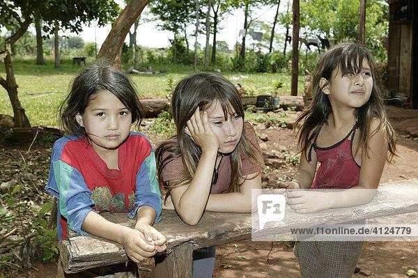 Three girls  Asuncion  Paraguay  South America