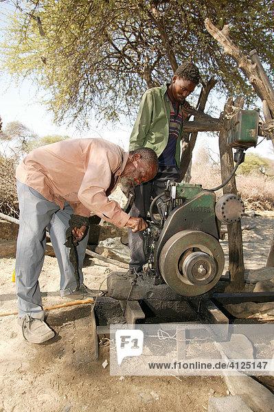 Wasserpumpe für die Rindertränke  Cattlepost Bothatoga  Botswana  Afrika