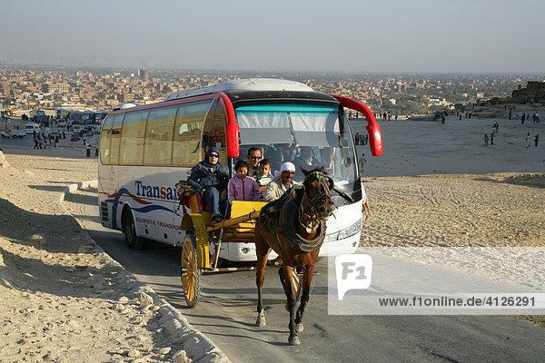 Parkplatz mit Touristenbussen bei den Pyramide  Ghize  Ägypten  Afrika