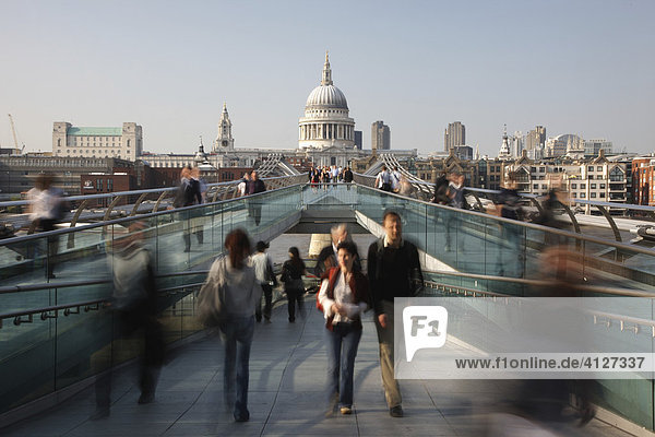 View towards St. Paul's Cathedral from Gateshead Millennium Bridge  London  England  Great Britain  Europe