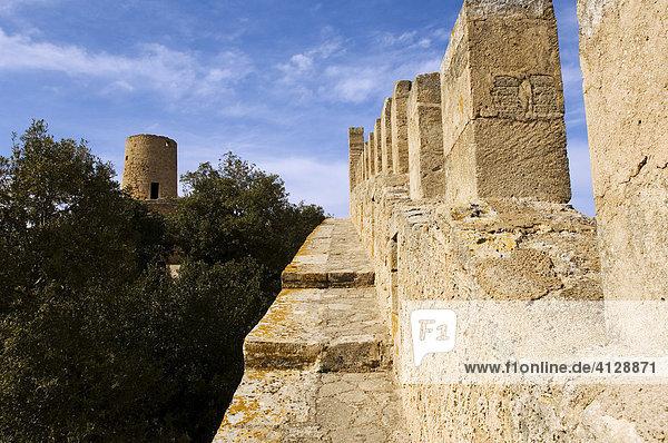 Auf dem Wehrgang der Burg mit Blick auf den Wehrturm  Capdepera  Mallorca  Balearen  Spanien  Europa