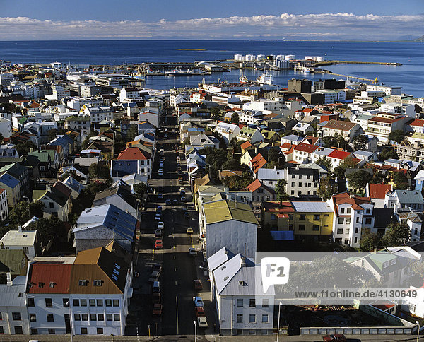 Reykjavík viewed from the tower of Hallgrims Church  Iceland