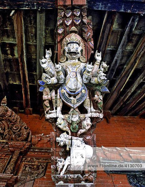 Temple  gable relief  pornographic depiction  Kathmandu  Nepal