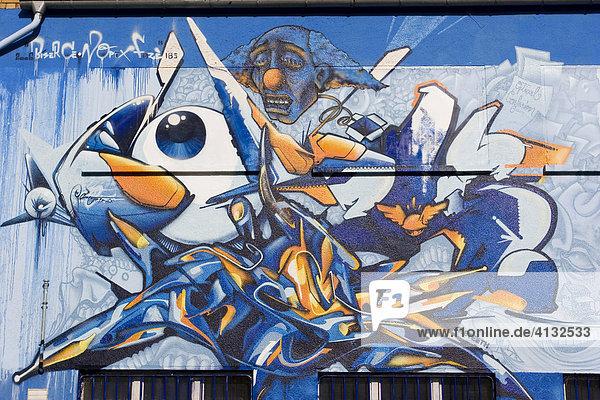 Graffiti-Kunst an einer Hausfassade Hausfassade