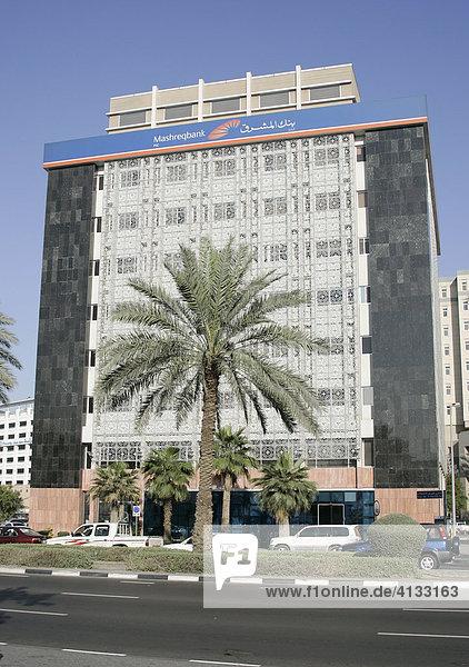 Mashreqbank  groesste Privat Bank der Emirate  Dubai  Vereinigte Arabische Emirate
