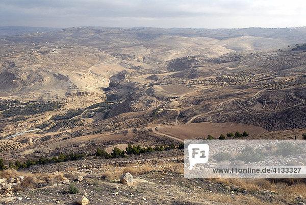 Blick vom Berg Nebo Richtung Norden  Jordanien  Naher Osten  Asien