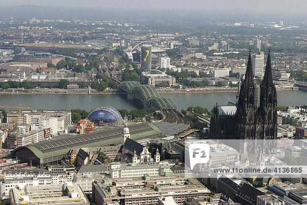 DEU  Germany  Cologne : Areal View of the city center. Cathedral. Main railway station. River Rhine. |
