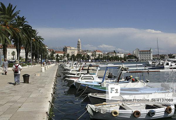 Historische Altstadt  Hafen  Split  Mittel-Dalmatien  Kroatien