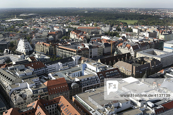 Overview over the City west with the Thomaskirche  Zentralstadion (behind) Leipzig  Saxony  Germany