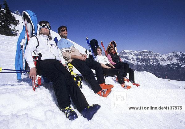 CHE  Switzerland  Canton St. Gallen : Wintersport area in the vacation region of Heidiland  Pizol mountain