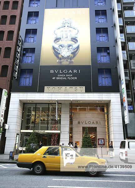 Bulgari store on Dori Street  luxury shopping district in Ginza  Tokyo  Japan  Asia