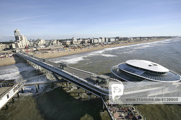 Beach promenade with the Kurhaus Hotel  pier and casino  Scheveningen  The Hague  The Netherlands  Europe