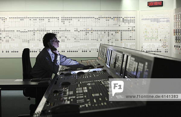 One of 13 control stations in the simulation centre  for the instruction and training of operating personnel of all German nuclear power stations  KSG-GfS  Essen  North Rhine-Westphalia  Germany  Europe