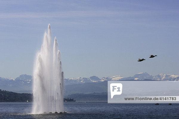 Wasserspiel im Zürichsee mit Alpenpanorama bei Zürich  Schweiz