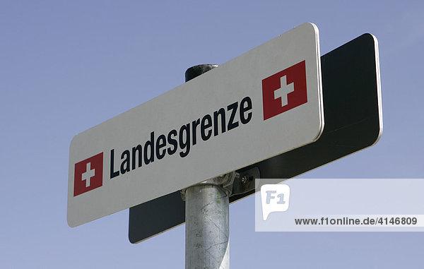 Landesgrenze  Schild am Bodensee  Konstanz  Baden-Württemberg  Deutschland  Europa Landesgrenze, Schild am Bodensee, Konstanz, Baden-Württemberg, Deutschland, Europa