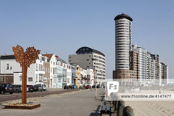 Boulevard Evertsen mit Hochhäusern  Vlissingen  Walcheren  Zeeland  Niederlande  Europa