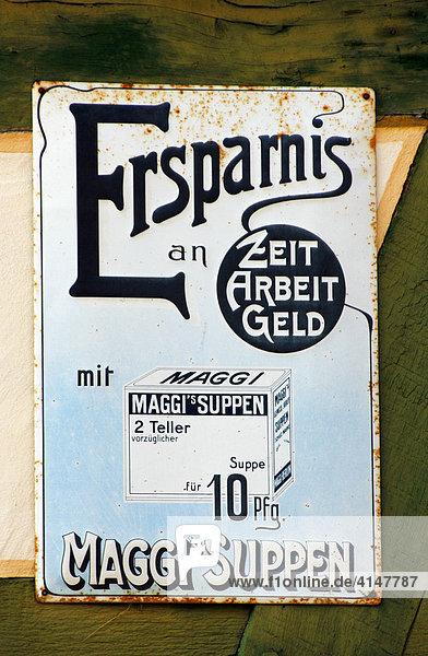 Historisches Reklameschild für Maggi - Suppen Historisches Reklameschild für Maggi - Suppen