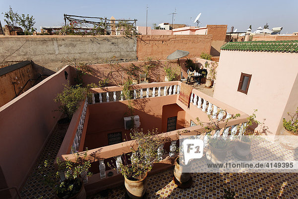 Roof terrace of a Riad hotel at the Medina of Marrakech  Morocco  Africa