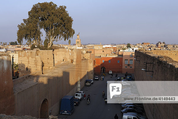 View from the walls of Palais El Badi  Marrakech  Morocco  Africa