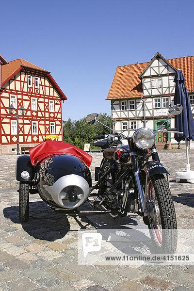 Horex Motorrad-Legende der 50er Jahre mit Beiwagen Oldtimer auf Marktplatz Hessenpark  Neu-Anspach  Hessen  Deutschland