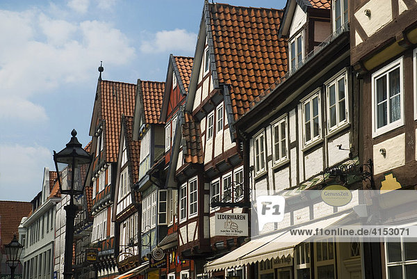 Timbered houses at old town of Celle,  Lower Saxony,  Germany
