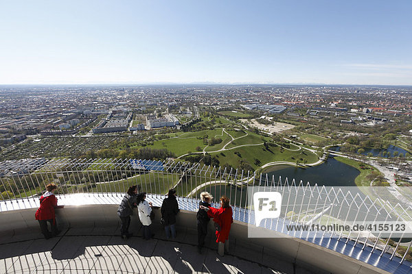 Tourists on the lookout deck of the Olympia TV tower  Munich  Bavaria  Germany  Europe