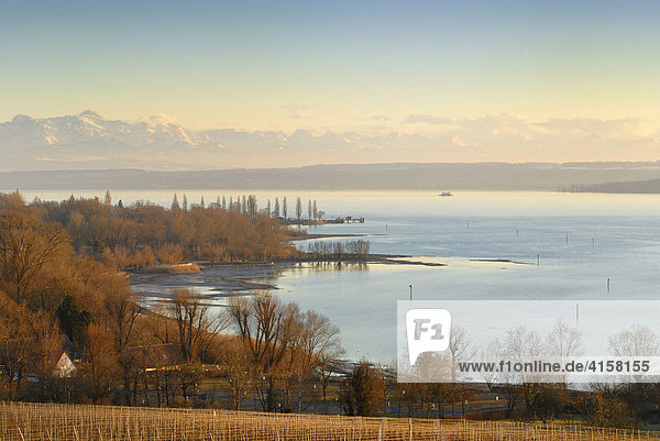 Blick über den Bodensee  nahe der Stadt Meersburg - Bodenseekreis  Baden-Württemberg  Deutschland  Europa. Blick über den Bodensee, nahe der Stadt Meersburg - Bodenseekreis, Baden-Württemberg, Deutschland, Europa.