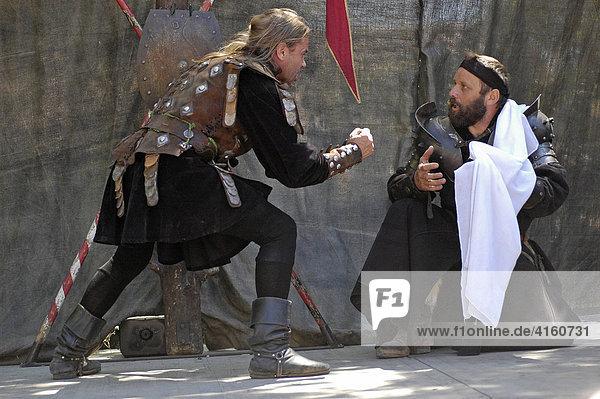 Feighting lansquenets  french stuntmen  knight festival Kaltenberger Ritterspiele  Kaltenberg  Upper Bavaria  Germany
