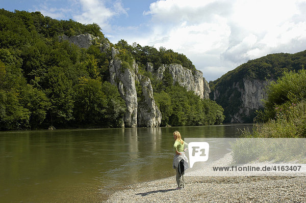 The Danube tightness at the monastery world castle with Kelheim in the Altmuehltal,  Bavaria