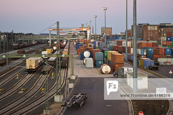 Shipping containers and loading crane at the transshipment railway station in Frankfurt-West  Frankfurt  Hesse  Germany  Europe