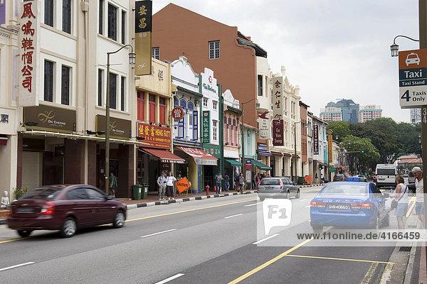 Chinatown  Chinesisches Viertel  Shophouses Fassaden an der South Bridge Road  Singapur  Südostasien