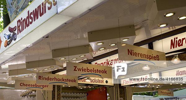Verkauf von Wurst  traditioneller Wäldchestag  Frankfurt  Hessen  Deutschland  Europa