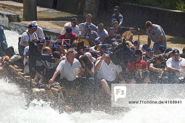 Rafts on river Isar - chute Mühltal Upper Bavaria