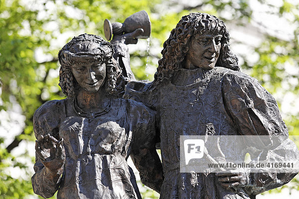 Hochzeitsbrunnen am Marktplatz in Amberg   Oberpfalz Bayern