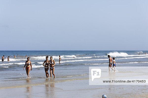 Strand in Playa del Ingles  Costa Canaria  Gran Canaria  Kanaren  Spanien