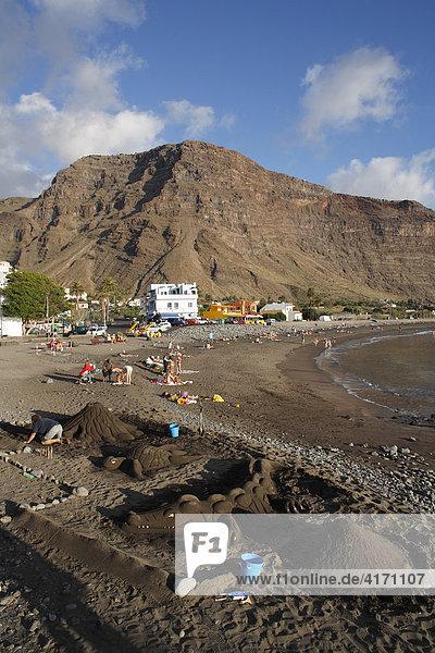 Sandkunst in La Playa  Valle Gran Rey  La Gomera  Kanaren  Spanien