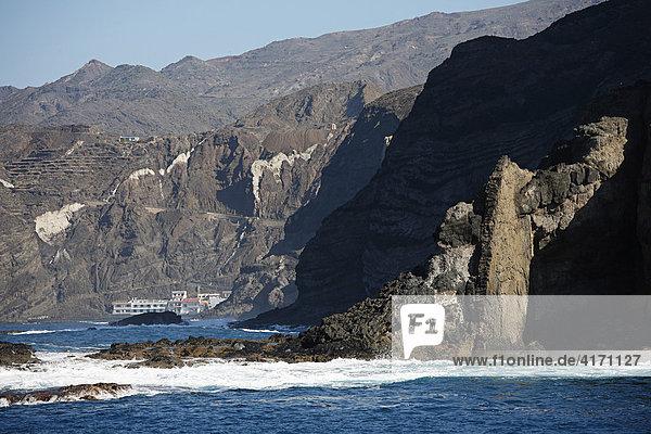 Alojera  Punta del Viento  Blick von Boot  La Gomera  Kanaren  Spanien