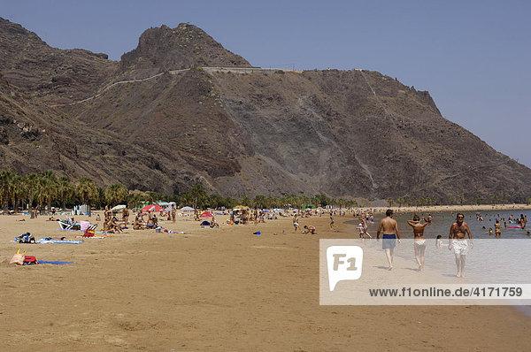 Artificial sand beach Playa de las Teresitas San Andres Las Montanas de Anaga  Teneriffe  Canary Islands  Spain