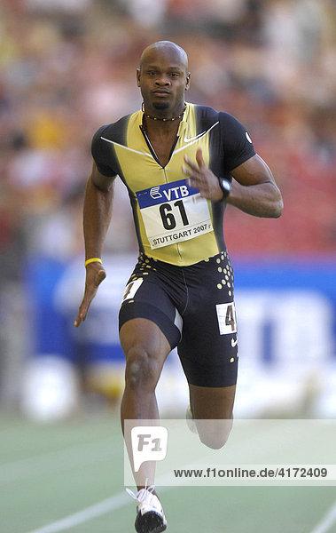 Weltfinale der Leichtathletik Stuttgart 2007  Baden-Württemberg  Deutschland Asafa POWELL JAM Weltrekord 100 m Sprint