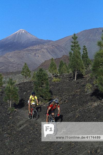 Mountainbiking  Teide Mountains  Tenerife  Canary Islands  Spain