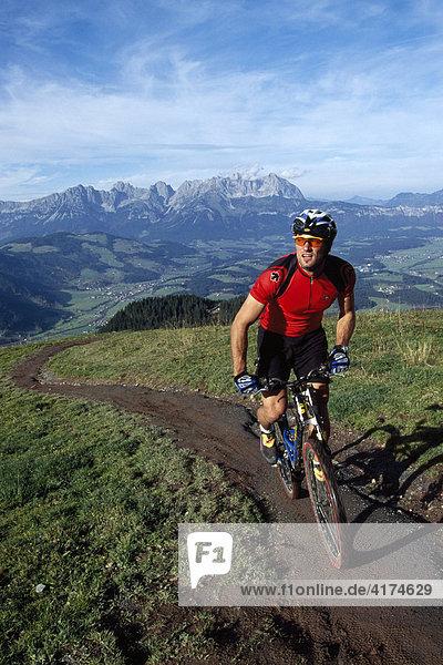 Biker in the Kitzbueheler alps  Tyrol  Austria